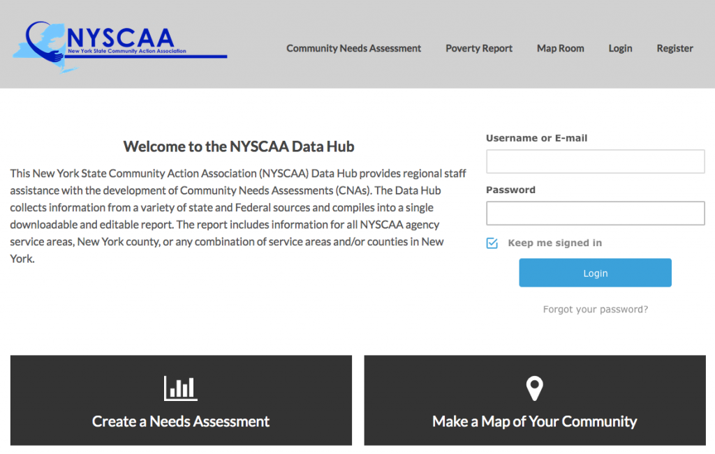 NYSCAA Homepage Screenshot
